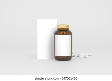 Box and bottle of pills on the gray background. Front view. 3D Illustration.