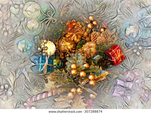 Colorful Christmas Ornaments Drawings.Box Colorful Christmas Ornaments Decorations Part Stock