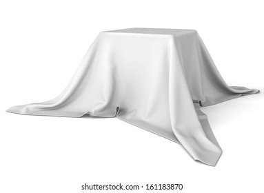 Box covered with cloth. 3d illustration on white background