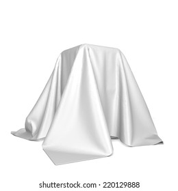 Box covered with cloth. 3d illustration isolated on white background