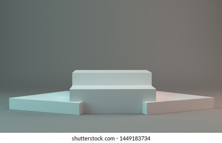 Box Display Backdrop. Empty Podium For Product Visualization. 3D render