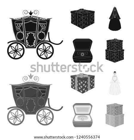 Box Gift Wedding Bride Veil Dress Stockillustration 1240556374