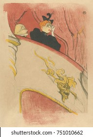 The Box with the Gilded Mask, by Henri de Toulouse-Lautrec, 1894, French Post-Impressionist print. This lithograph was designed to decorate the playbill for Marcel Luguets Le Missionnaire at the Theat