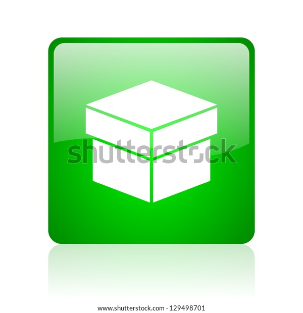 box green square web icon on white background
