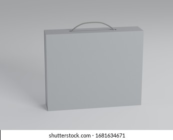 Box with handle, mockup, isolated. 3d illustration