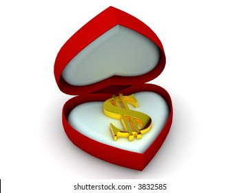 Box as heart with  dollar. 3d