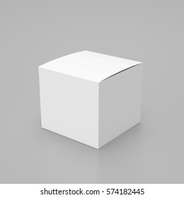 Box mockup, isolated on gray background, 3D rendering