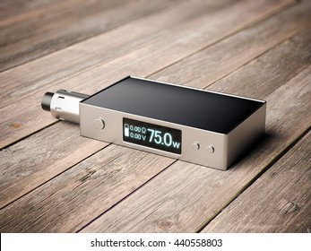 Box mod e-cigarette with metal rda on wooden floor. 3d rendering