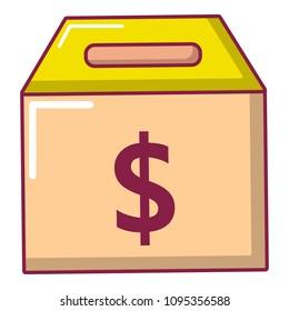 Box money icon. Cartoon illustration of box money icon for web
