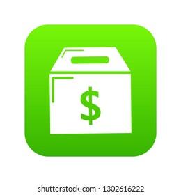Box money icon green isolated on white background