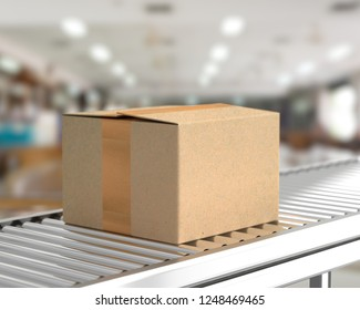 Box on conveyor roller in warehouse mock-up for your text. 3D Rendering