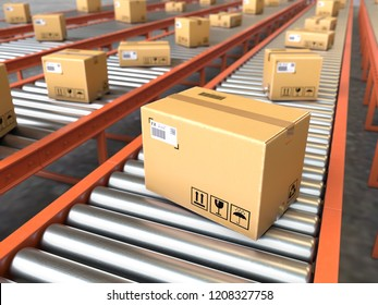 Box on conveyor roller.Shipping and logistics concept,3d rendering,conceptual image.