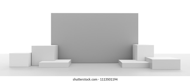 Box Product Display With Wall. 3D render