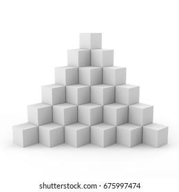 box pyramid. 3D rendering