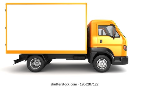Box truck isolated on white. 3D illustration