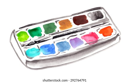 A box of watercolors painted on white isolated background