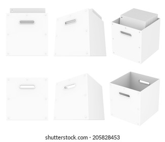 Box white storage empty and with white files documents, isolated on white background. Easy editable for your design.