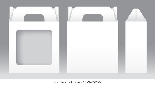 Box White window shape cut out Packaging Template blank. Empty Box white Template for design product package gift box, White Box packaging paper kraft card board package (illustration)