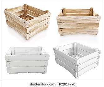 Box of wood for storage. Wooden boxes with a different perspective.