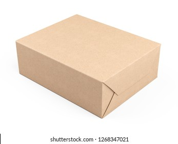 Box wrapped in recycled paper. Parcel or gift. 3d illustration isolated on a white background.