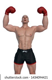 boxer cartoon is victorious in a white background. This guy in clipping path is very useful for graphic design creations, 3d illustration