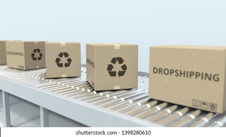 Boxes with DROPSHIPPING text on roller conveyor. 3D rendering