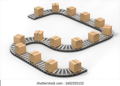 Boxes moving on the conveyor belt, 3d rendering. Computer digital drawing.