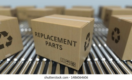 Boxes with replacement parts on roller conveyors. 3D rendering