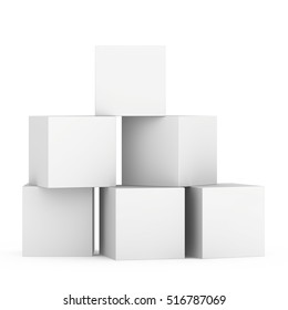 Boxes stacked building concept on white background with reflection. 3d rendering.