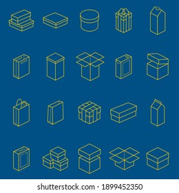 Boxes Thin Line Style Design Icon Set Different Types Big, Small, Round or Square for Web and App. illustration of Box