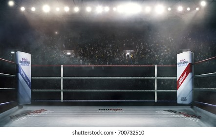 Boxing arena with blurred spectator and stadium light 3d rendering
