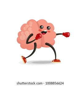 Boxing brain cartoon character. Healthy and fitness. Flat illustration isolated on white