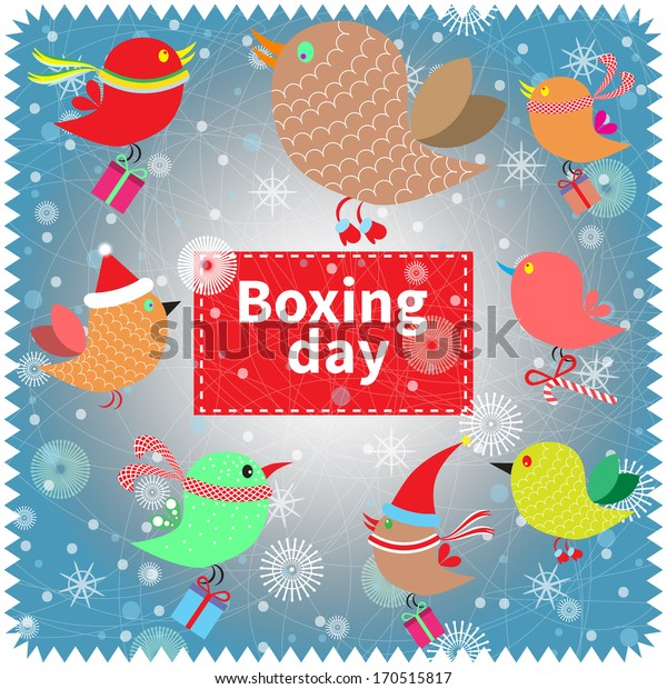 Boxing day banner. Bright concept card with birds.