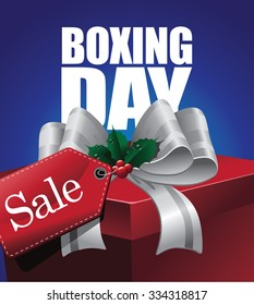 Boxing day sale design with tag and ribbon.