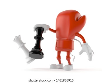 Boxing glove character playing chess isolated on white background. 3d illustration