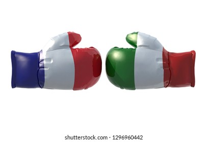 Boxing gloves with French and Italian flag, 3d illustration