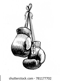 Boxing gloves hanging on the wall. Black and white ink illustration