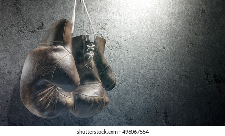 Boxing gloves on the wall.  High-resolution image.