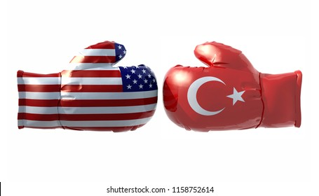 Boxing gloves with Usa and Turkey flag isolated on white background, 3d illustration