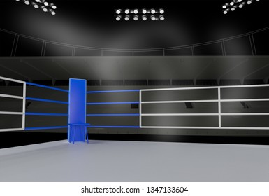 Boxing ring arena, fighting concept image, Sport background with copy space. 3D rendering - illustration.
