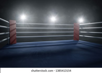 Boxing ring in the headlight light. (3D Rendering)