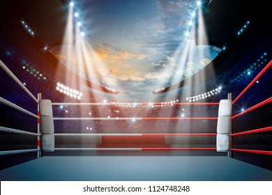 boxing ring with illumination by spotlights. digital effect.