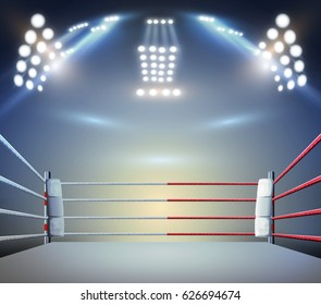 boxing ring with illumination by spotlights. digital effect 3d