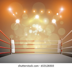 boxing ring with illumination by spotlights. digital effect 3d .