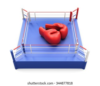 Boxing ring with large Boxing gloves on it. Conceptual image. 3d illustration.