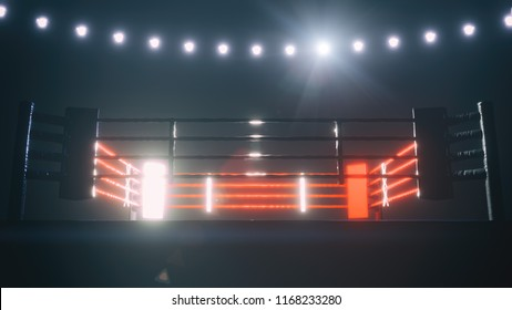 Boxing ring with shiny lights. 3D illustration