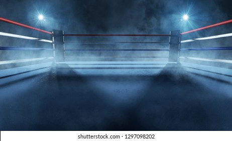 Boxing ring in the spotlight (3D Rendering)