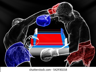 Boxing ring surrounded by ropes on an dark background. Boxers are fighting on the arena. Athletes extreme Sport mixed martial arts competition tournament series. battle mma.