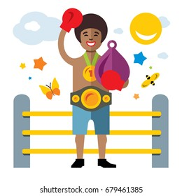 Boxing success. Flat style colorful Cartoon illustration.