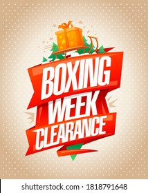 Boxing week clearance sale, poster design template, raster version